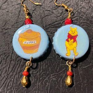 Winnie the Pooh inspired bottle cap art earrings